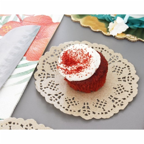 1000-Pack Decorative Lace Round Paper Doilies Placemats for Cakes - Brown, 4 Inches Perspective: bottom