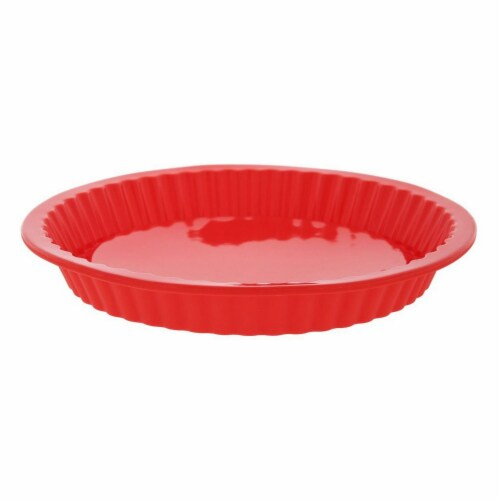 4 Piece Nonstick Silicone Baking Molds Set, Round, Square and Rectangular Cake Mold Pan, Red Perspective: bottom