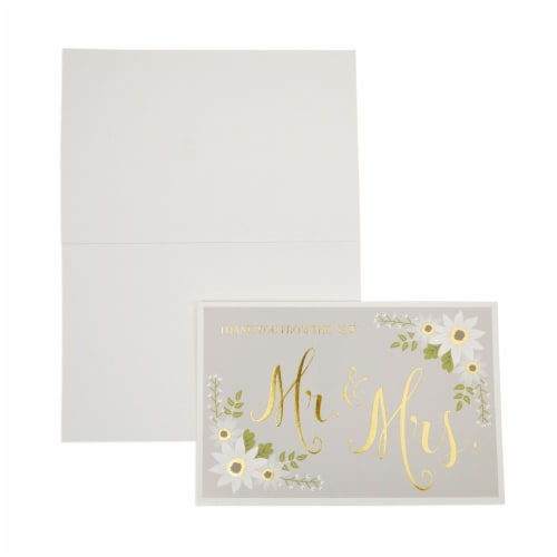 Wedding Thank You Cards with Striped Envelopes, Mr and Mrs (4x6 In, 48 Pack) Perspective: bottom
