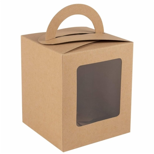 100-Pack Kraft Paper Cupcake Boxes with Clear Display Window, Brown, 3.7 x 4.2 x 3.7 Inches Perspective: bottom