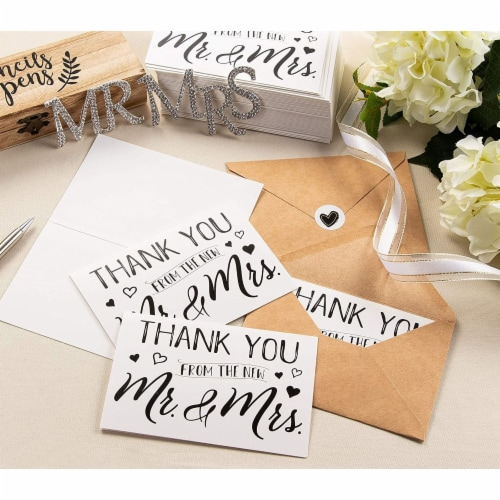 120 Pack Wedding Thank You Greeting Cards with Brown Envelopes in Bulk, 4x6 In. Perspective: bottom
