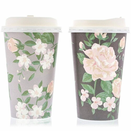 48 Pack Vintage Floral Paper Insulated Coffee Cups with Lids, 4 Designs, 16 Ounces Perspective: bottom