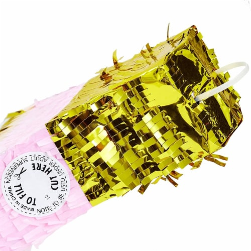Champagne Bottle Party Pinata with Gold Foil (Pink, White, 16.5 x 7 x 3 Inches) Perspective: bottom
