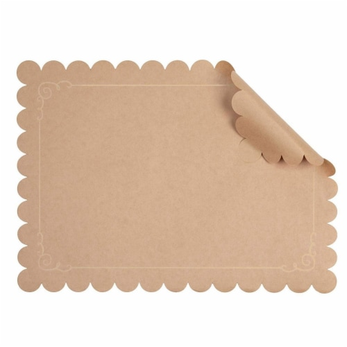 Juvale 100 Pack Disposable Placemats with Scallop Edge, Brown Kraft Paper (10 x 14 in) Perspective: bottom
