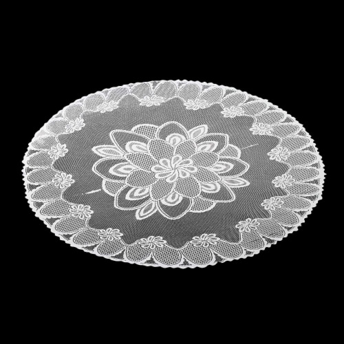 Round 71-Inch Decorative Lace Tablecloth with Floral Patterns for Birthday Parties, White Perspective: bottom