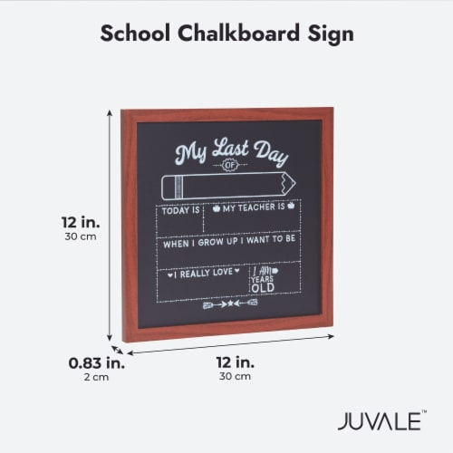 First and Last Day of School Chalkboard Sign, Teacher Classroom Supplies (2 Pieces) Perspective: bottom