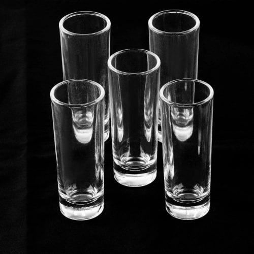 Juvale 24-Pack Clear Shooters Tall Shot Glasses for Parties, Whiskey, Vodka - 2 Ounces Perspective: bottom