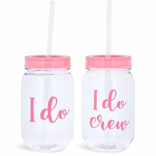 I Do Crew Plastic Mason Jars for Bachelorette Party, Bridal Shower (12 Pack) Perspective: bottom
