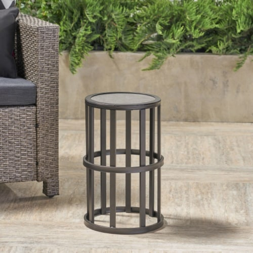 Truda Outdoor 11 Inch Grey Finish Ceramic Tile Side Table Perspective: bottom
