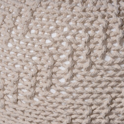 Austin Knitted Cotton Pouf, Beige Perspective: bottom