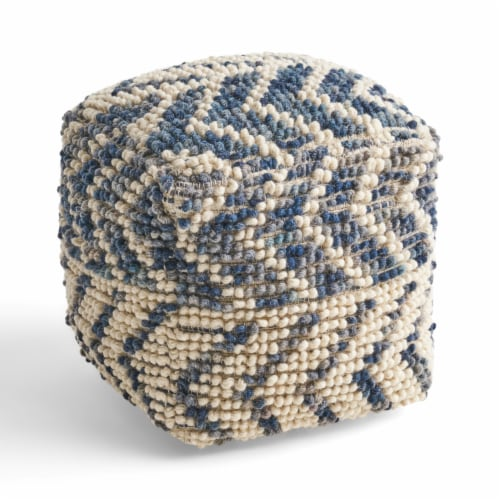 Bonnie Boho Wool and Cotton Large Ottoman Pouf Perspective: bottom