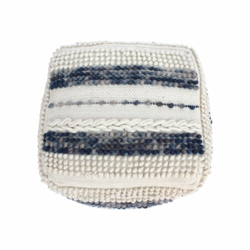 Christal Contemporary Wool and Cotton Pouf Ottoman Perspective: bottom
