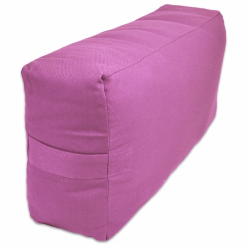 Yoga Accessories Max Support Deluxe Rectangular Travel Cotton Yoga Bolster, Pink Perspective: bottom