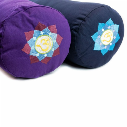 Yoga Accessories Supportive Round Cotton Yoga Bolster Pillow, Blue Embroidered Perspective: bottom