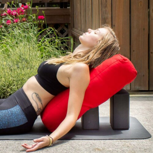 Yoga Accessories Supportive Rectangular Travel Cotton Yoga Bolster, Cardinal Red Perspective: bottom