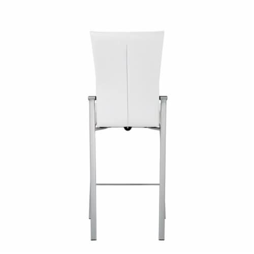 Milan Molly Motion Back Metal Counter Stool in White/Brushed Steel Perspective: bottom