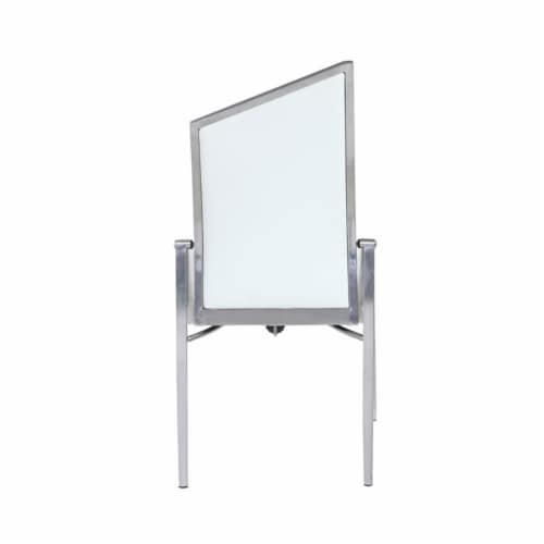 Milan Nala 41.5  Motion-Back Side Chairs in White/Brushed (Set of 2) Perspective: bottom