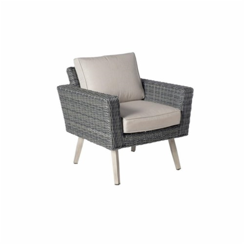 Alfresco Home Castlewood 4-piece Resin Wicker Seating Group in Stone Gray Perspective: bottom