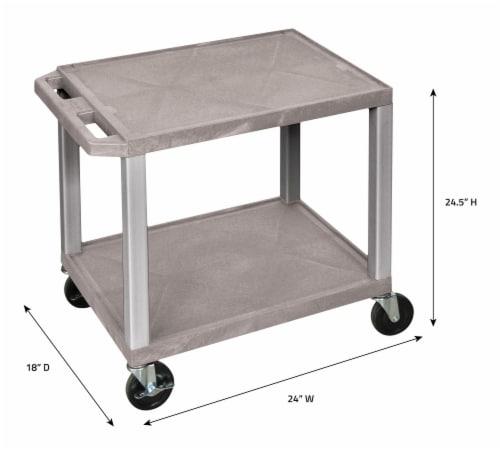 Luxor WT26-N Tuffy AV Cart - 2 Shelves Nickel Legs Perspective: bottom