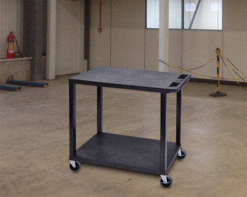 Luxor Black 32 x18 , Cart with 2 Flat Shelves Perspective: bottom