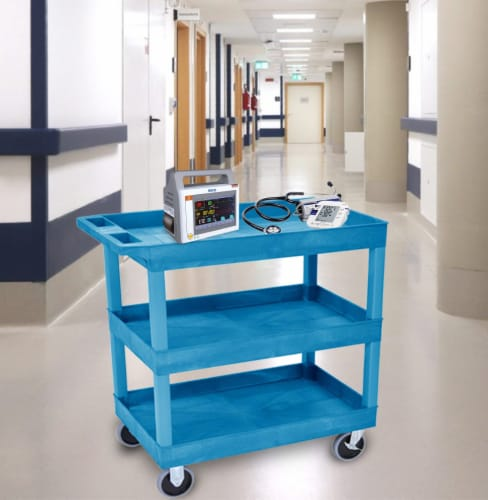 Luxor HD High Capacity 3 Tub Shelves Cart in Blue Perspective: bottom