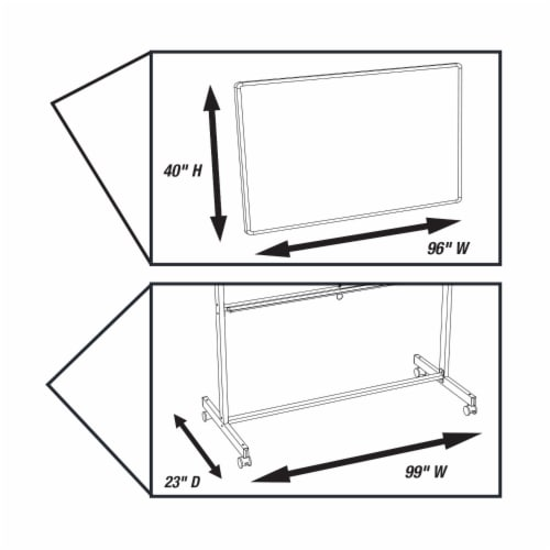 """Luxor 96""""Wx40""""H Double Sided Mobile Magnetic Whiteboard Perspective: bottom"""