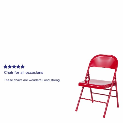 Red Metal Folding Chair Perspective: bottom