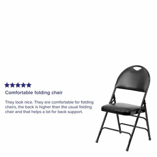 Black Vinyl Folding Chair Perspective: bottom