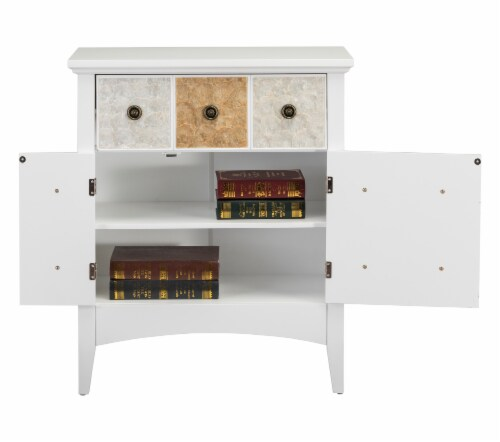 """Elegant Home Fashions Gozo 32"""" Accent Cabinet 2 Doors 1 Drawer White ELG-655 Perspective: bottom"""
