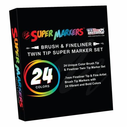 24 Color Brush Tip & Fineliner Twin Tip Marker Set - 0.7mm Fineliner & Fine Artist Brush Tip Perspective: bottom