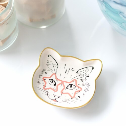 Cat Dish Plate | Small Ceramic Catchall Dish For Treats, Keys, Change, & More Perspective: bottom