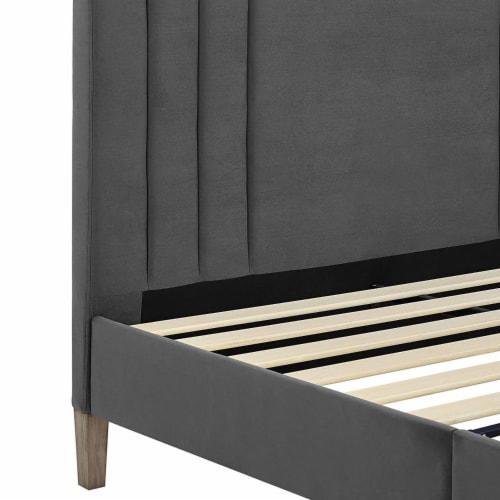 Classic Brands Chicago Tufted Upholstered Platform Bed Frame, Full, Dark Grey Perspective: bottom
