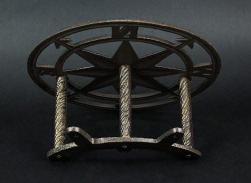 Decorative Wall Mounted Cast Iron Compass Rose Garden Hose Holder Bronze - Compass Rose Perspective: bottom