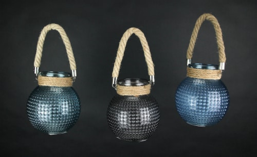 Set of 3 Hobnail Beaded Glass  Tealight Candle Lanterns with Rope Handles Perspective: bottom