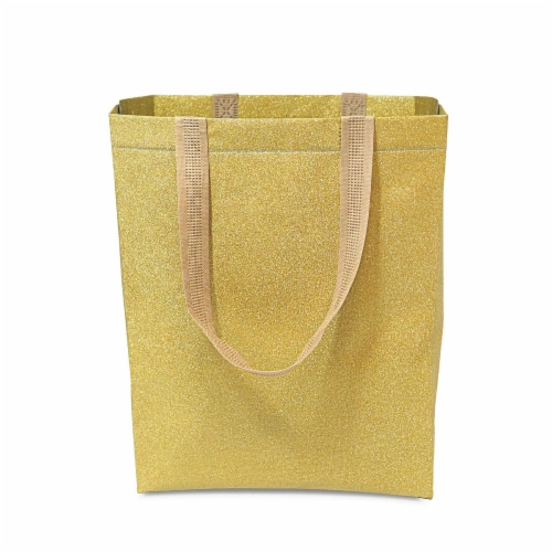Large Gold Gift Bags with Handles, Reusable Tote, Glitter Metallic Bling Shimmer Perspective: bottom