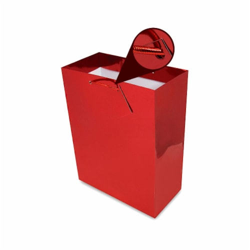 Red Foil Gift bags with Handles, Designer Solid Red Paper Gift Wrap Bags Perspective: bottom