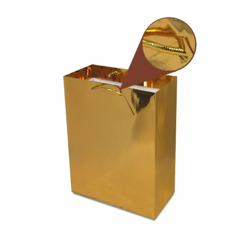 Medium Metallic Gold Paper Gift Bags with Handles & Hangtag, Premium Quality Party Favor Bags Perspective: bottom