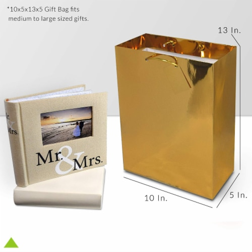 Gold Foil Gift bags with Handles, Designer Solid Gold Paper Gift Wrap Bag Perspective: bottom