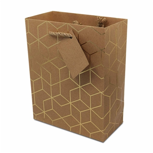 Designer Gift Bags with Handles, Gold Geometric Chevron, Stripe Prints with Jute Handles Perspective: bottom