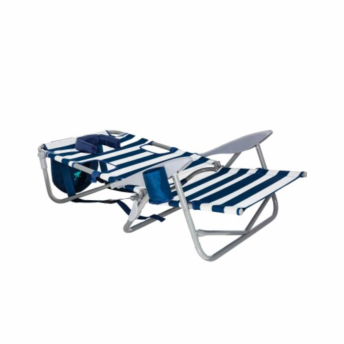 Ostrich On-Your-Back Outdoor Lounge 5 Position Recline Beach Chair, Striped Blue Perspective: bottom