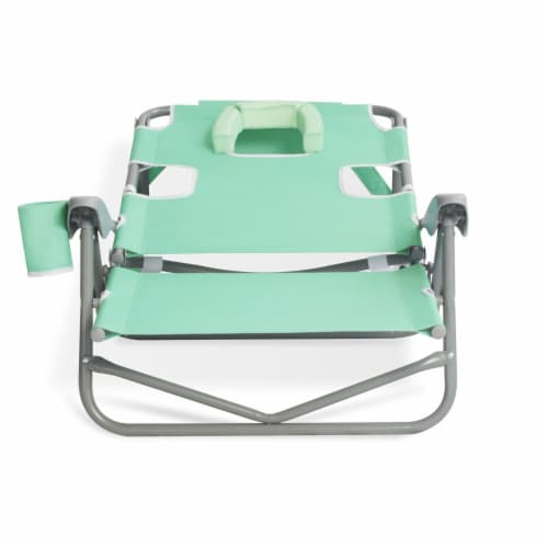 Ostrich On Your Back Folding Reclining Outdoor Beach Camping Lawn Chair, Teal Perspective: bottom