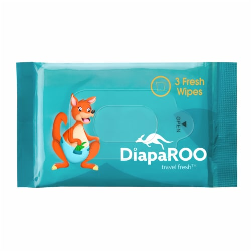 DiapaROO Flushable Wet Wipes for Adults & Kids - 15 Resealable Bags of 3 Wipes - Aloe Vera Perspective: bottom