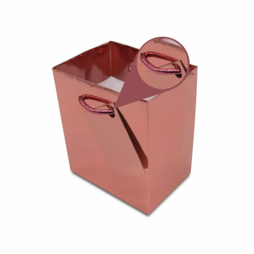 Extra Small Rose Gold Foil Gift bags with Handles, Designer Solid Color Paper Gift Wrap Bags Perspective: bottom