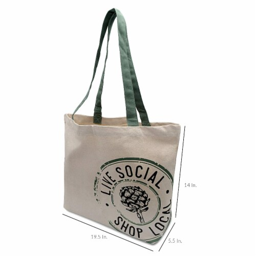 Farmers Market Tote, Reusable Cotton Grocery Bag, Washable Organic Cotton with Print Perspective: bottom