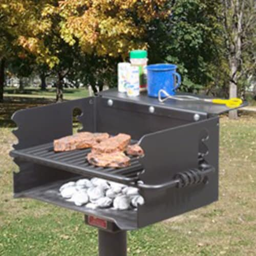Pilot Rock Q-20 B2 Single Commercial Grade 20 Inch Park Style Charcoal Grill Perspective: bottom