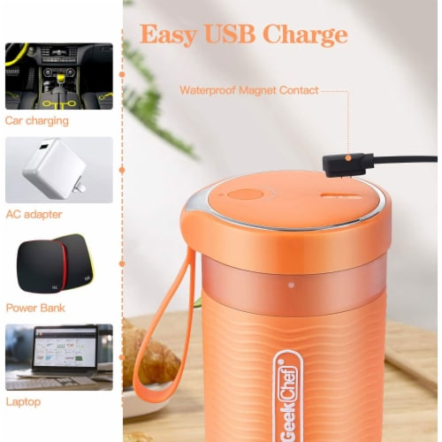 Geek Chef 10 Ounce Rechargeable Portable Blender Bottle with USB Cable, Orange Perspective: bottom