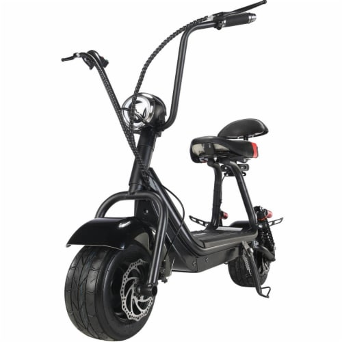 MotoTec Mini Fat Tire 48v 500w Electric Scooter Black Perspective: bottom