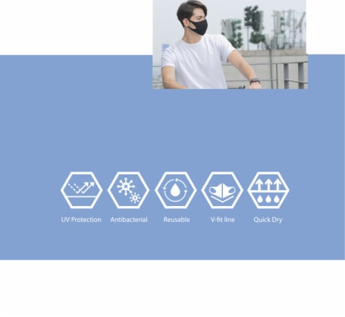 ATB Gray Summer Fabric UV Antibacterial Masks Perspective: bottom