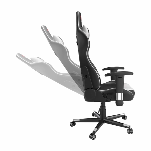 Epic Racing Gaming Chair for Teens & Adults, Back Lumbar Support, White/Black Perspective: bottom