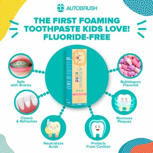 AutoBrush Foaming Kids Bubblegum Toothpaste - Fluoride-Free - New October 2020 Formula Perspective: bottom